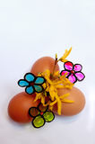 Пасхальные яйца и цветки Стоковое Изображение