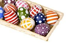 пасхальные яйца корзины цветастые Стоковое Изображение