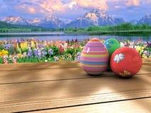 Пасхальные яйца на таблице Стоковая Фотография