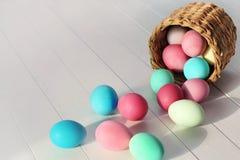 Пасхальные яйца свертывая из корзины Стоковые Фотографии RF