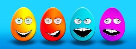 Пасхальные яйца с глазами и чувством рта счастливым, confused, сердитым a Стоковые Фотографии RF
