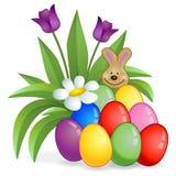 Пасхальные яйца с кустом и зайчиком цветка Стоковое Изображение RF