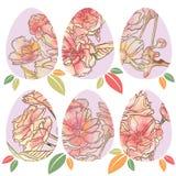 Пасхальные яйца с цветочными узорами иллюстрация вектора