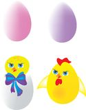 пасхальные яйца цыпленоков Стоковое Изображение RF
