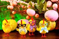 Пасха большая и яркий праздник, жизнерадостные цыплята пришли из яйца  стоковое фото