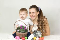 Пасха Мать и ребенок Стоковая Фотография