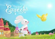 Пасха, охота яйца, зайчик улавливая золотое летание яйца на поле травы в природе, мультфильме фантазии сказки, каллиграфии поздра бесплатная иллюстрация