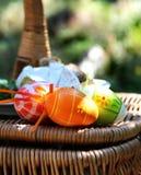 Пасха покрасила яичка и корзину Стоковые Изображения RF