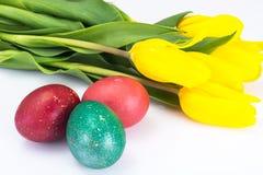 Пасха покрасила яичка и пук тюльпанов на белизне Стоковые Фотографии RF