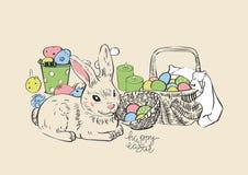 пасха счастливая Зайчик и яичка зайцев кролика Вися покрашенные яичка карточка 2007 приветствуя счастливое Новый Год корзина wick иллюстрация вектора