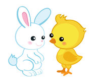 пасха счастливая Милый зайчик пасхи и милый цыпленок Стоковые Изображения