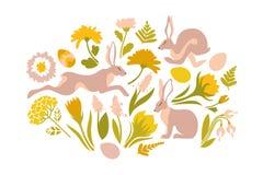 Пасха установила объектов для дизайна Печать для пасхи Скача кролики и цветки весны, папоротники бесплатная иллюстрация