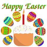 Пасха установила покрашенные яйца и торт пасхи со свечой Suginoi иллюстрация вектора