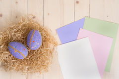 2 пасхального яйца в гнезде и пустых карточки с Стоковое Изображение