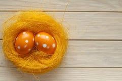 2 пасхального яйца в гнезде Стоковое Изображение RF