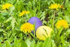 2 пасхального яйца в зеленой траве Стоковые Фото