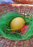 2 пасхального яйца в корзине Стоковые Изображения RF