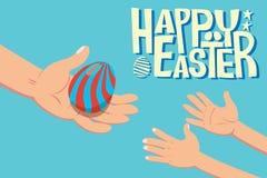 Пасхальное яйцо давая детей Стоковые Фотографии RF