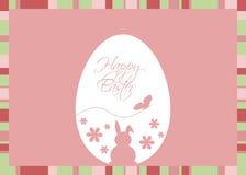 Пасхальное яйцо вектора с приветствием на розовой предпосылке Стоковые Фотографии RF