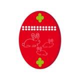 Пасхальное яйцо с зайчиком на белой предпосылке Стоковые Фотографии RF