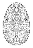 Пасхальное яйцо Zentangle черно-белое декоративное Стоковые Фотографии RF