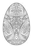 Пасхальное яйцо Zentangle черно-белое декоративное Стоковое Изображение RF