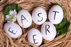 пасхальные яйца белые Стоковые Изображения RF