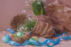 Пасхальные яйца в гнезде и snowdrops Стоковое фото RF