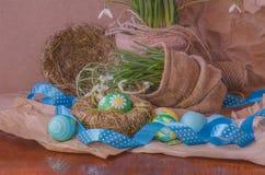 Пасхальные яйца в гнезде и snowdrops Стоковое Фото
