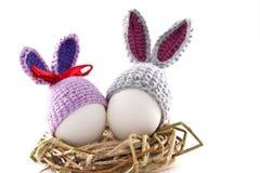 Пасхальные яйца в гнезде связали зайчика пасхи Яичко в плюшке пасхи Стоковое Изображение RF