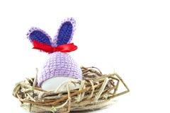 Пасхальные яйца в гнезде связали зайчика пасхи Яичко в плюшке пасхи Стоковое фото RF