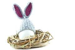 Пасхальные яйца в гнезде связали зайчика пасхи Яичко в плюшке пасхи Стоковые Изображения RF