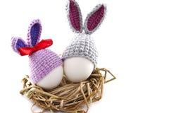 Пасхальные яйца в гнезде связали зайчика пасхи Яичко в плюшке пасхи Стоковая Фотография RF