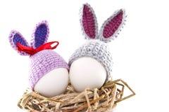 Пасхальные яйца в гнезде связали зайчика пасхи Яичко в плюшке пасхи Стоковые Фотографии RF