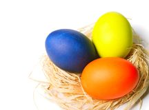 Пасхальные яйца в гнезде Стоковые Фотографии RF
