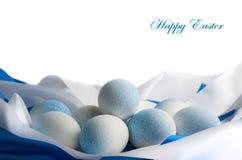 Пасхальные яйца в голубых тонах Стоковые Изображения RF