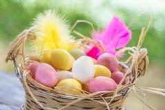 Пасхальные яйца в корзине Стоковые Фото