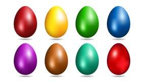 Пасхальные яйца в 8 цветах Реалистические яичка для дизайна иллюстрация штока