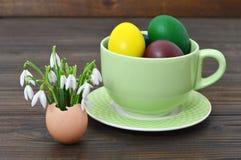 Пасхальные яйца в цветках чашки и весны в eggshell Стоковые Фото