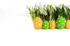 пасхальные яйца засевают травой спрятано стоковое фото
