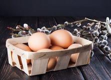 Пасхальные яйца и ветви вербы Стоковые Фотографии RF