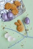 Пасхальные яйца и домодельные печенья Стоковая Фотография