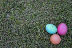 Пасхальные яйца иллюстрации на траве иллюстрация вектора