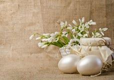 Пасхальные яйца и snowdrops Стоковые Изображения RF
