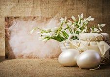 Пасхальные яйца и snowdrops Стоковое фото RF