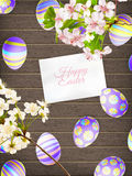 Пасхальные яйца на деревянной предпосылке 10 eps Стоковое Изображение