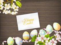 Пасхальные яйца на деревянной предпосылке 10 eps Стоковая Фотография