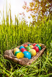 Пасхальные яйца на траве стоковое изображение