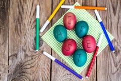 Пасхальные яйца покрасили отметки Стоковые Фото