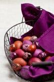 Пасхальные яйца покрашенные в фиолетовом и коричневом в корзине стоковая фотография